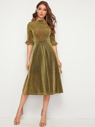 Mock-Neck Flounce Sleeve Fit and Flare Glitter Dress