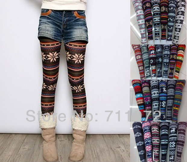 2013 New Bestselling Women's snowflake pants 20styles Christmas Snow Leggings Lady Autumn Winter free shippig-in Socks & Hosiery from Apparel & Accessories on Aliexpress.com