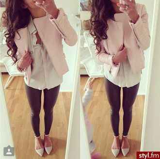 jacket pink leather girly pretty nude zip feminine leather jacket leggings red lime sunday