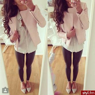 jacket pink leather girly pretty nude zip feminine leather jacket leggings
