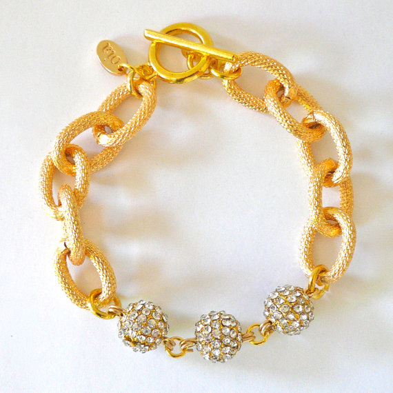 Gold chain link & pave ball bracelet by oiajules on etsy