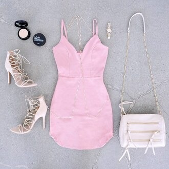 dress blush pink nude heels beige nude high heels purse clutch going out girly gojane rose pastel bag watch pink dress pastel pink date outfit