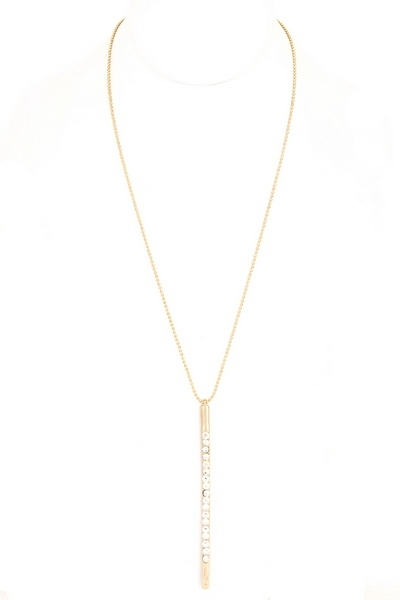 Long Verticle Bar Pendant Necklace