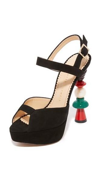 high sandals black shoes