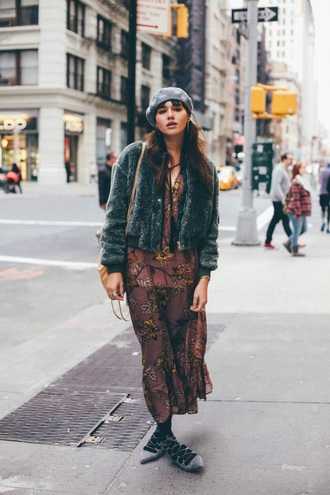natalie off duty blogger beret floral dress dusty pink strappy flats faux fur jacket fall outfits boho grey fur jacket furry bomber jacket