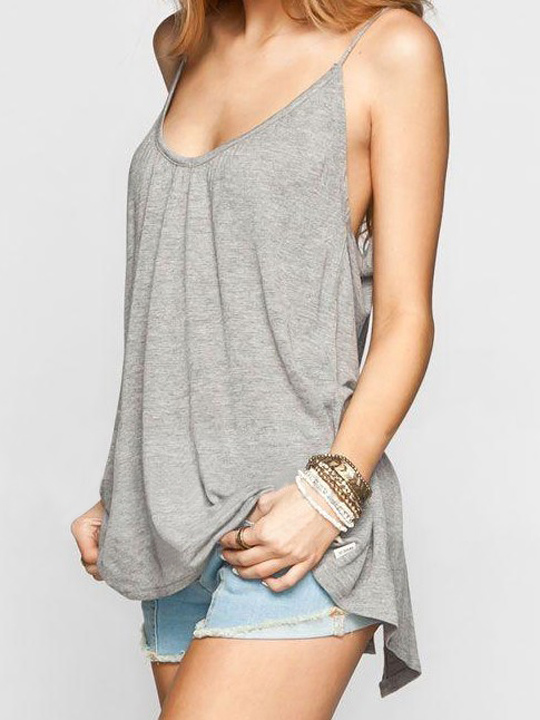 Grey spaghetti straps tied bow backless vest