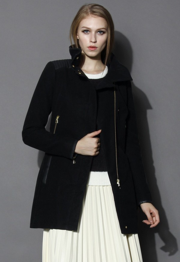 chicwish black wool coat zip decor