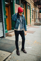 stay classic,blogger,menswear,denim jacket,mens jacket,mens accessories,jacket,sweater,jeans,shoes,hat,scarf,sunglasses,jewels,mens beanie,mens denim jacket,mens skinny jeans,mens derby shoes,mens knitted scarf