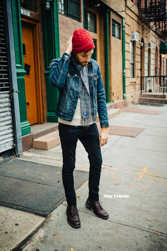 stay classic blogger menswear denim jacket mens jacket mens accessories jacket sweater jeans shoes hat scarf sunglasses jewels mens beanie mens denim jacket mens skinny jeans mens derby shoes mens knitted scarf