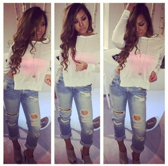 distressed jeans denim shirt