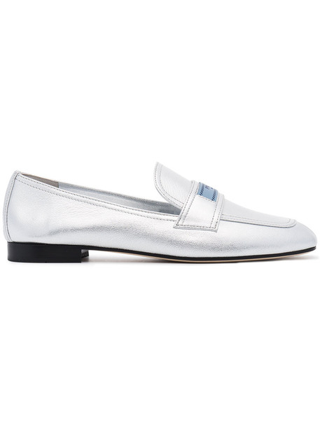 Prada metallic women loafers leather grey shoes