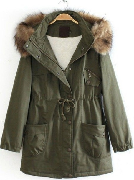Parka Green Fur Hood