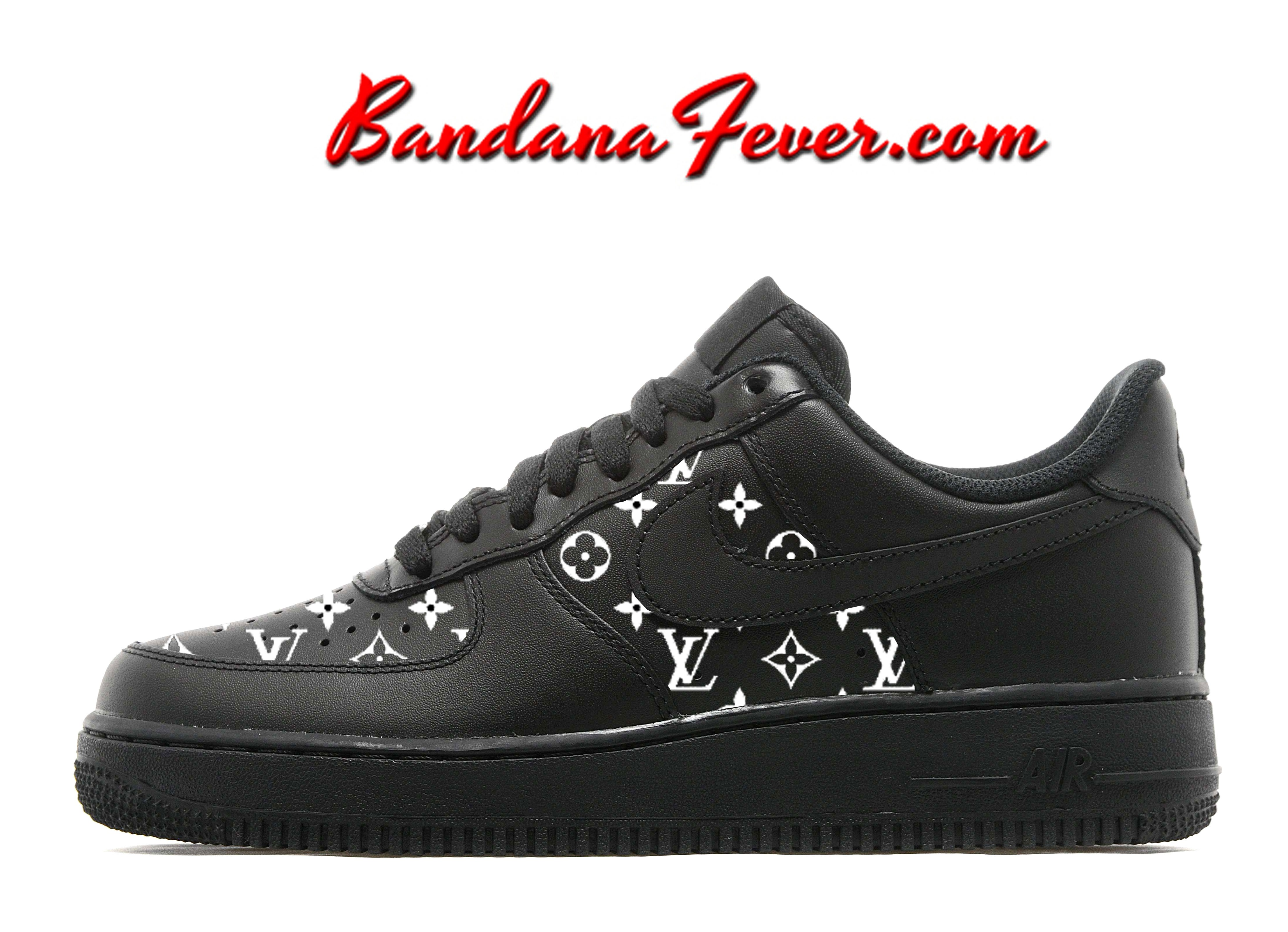huge discount c9cf7 2c353 Custom Supreme White Monogram Nike Air Force 1 Shoes Black Low,  fashion   supremelv by Bandana Fever