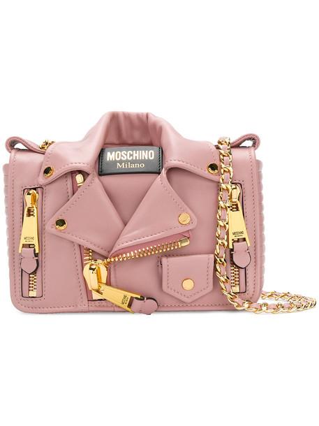 Moschino women bag shoulder bag leather purple pink