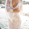 Deep v-neck see-through half sleeve bodycon lace dress|disheefashion