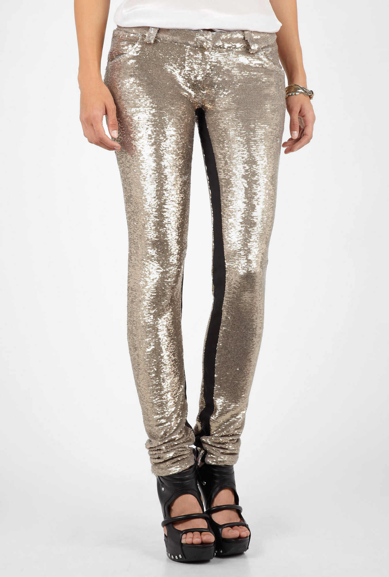 Aurelie silver sequinned trousers by iro
