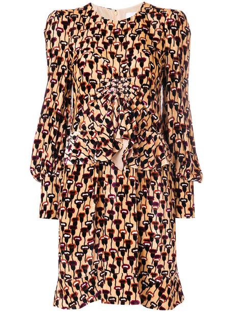 Chloe dress print dress women print silk velvet yellow orange