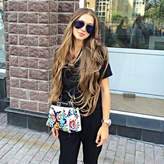 bag fashion girl cool flowers print small bags black white colorful