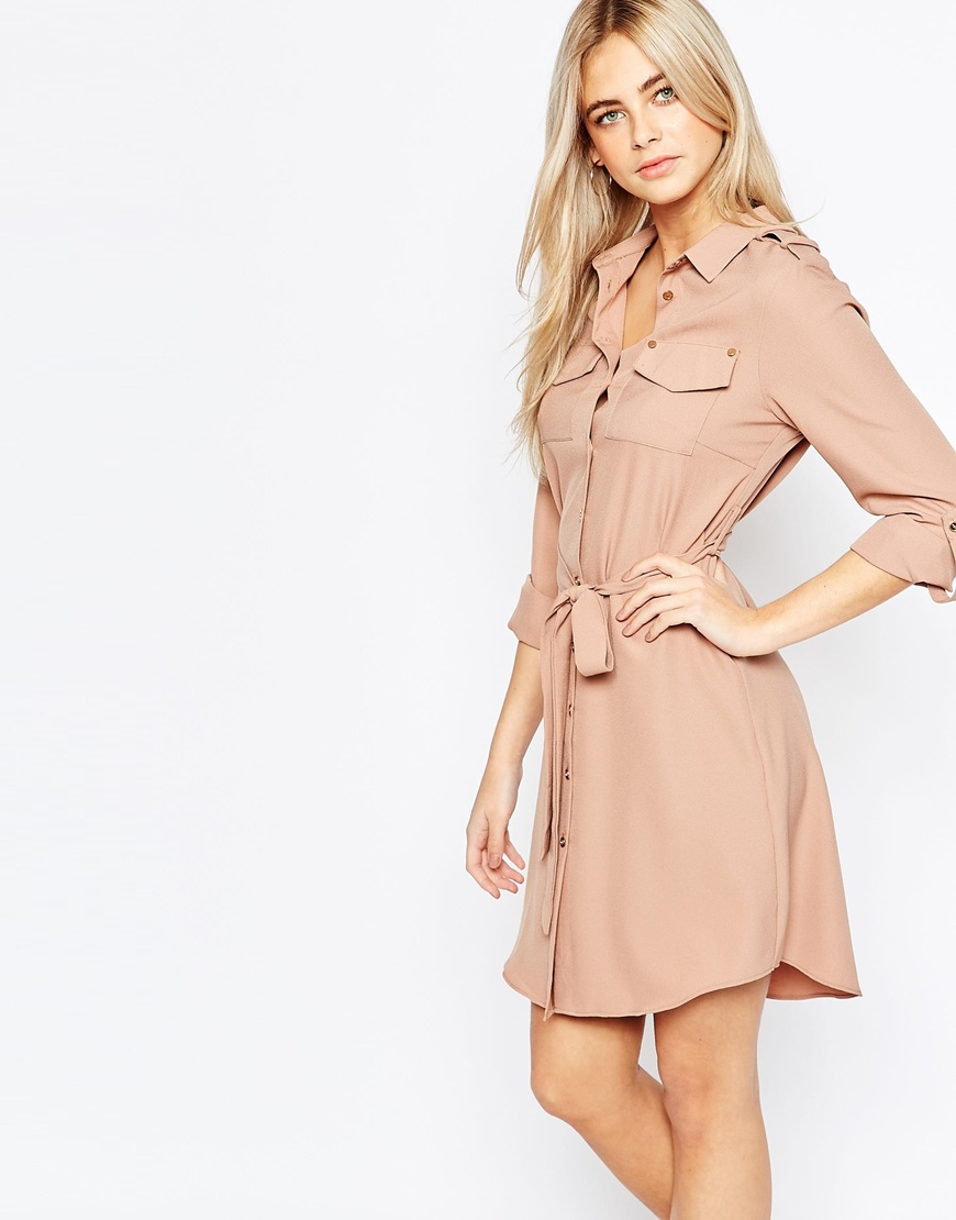 Fashion Union Belted Shirt Dress with Pockets at asos.com