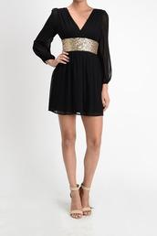 dress,sheer,gold,wishlist,last chance,sexy,chiffon,short dress,long sleeve dress,black dress,black and gold,black dress with silver sparkles