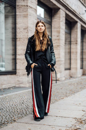pants,tumblr,black pants,side stripe pants,wide-leg pants,jacket,black jacket,leather jacket,shearling jacket,black shearling jacket