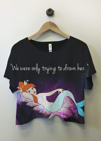 t-shirt mermaid peter-pan ghetto jacket shirt disney peter pan 90s style swag hipster girl casual amazing moon magik clothes the little mermaid crop tops black never land crop graphic tee quote on it top crank top peter pan  cute shirt cropped t-shirt we were only trying to drown her tank top where to get this top from? wendy drown beautiful funny statement people water peter pan perf perfect skirt mermaid lagoon cut offs blouse bitch the mermaid in peter pan.. peter pan shirt cute printed t-shirt mermaid crop top we were only trying to drown her shirt black crop top grunge grunge t-shirt sea creatures black shirt black t-shirt