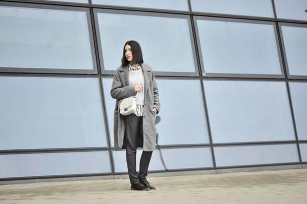 shiny sil blogger coat blouse sweater bag pants shoes jewels