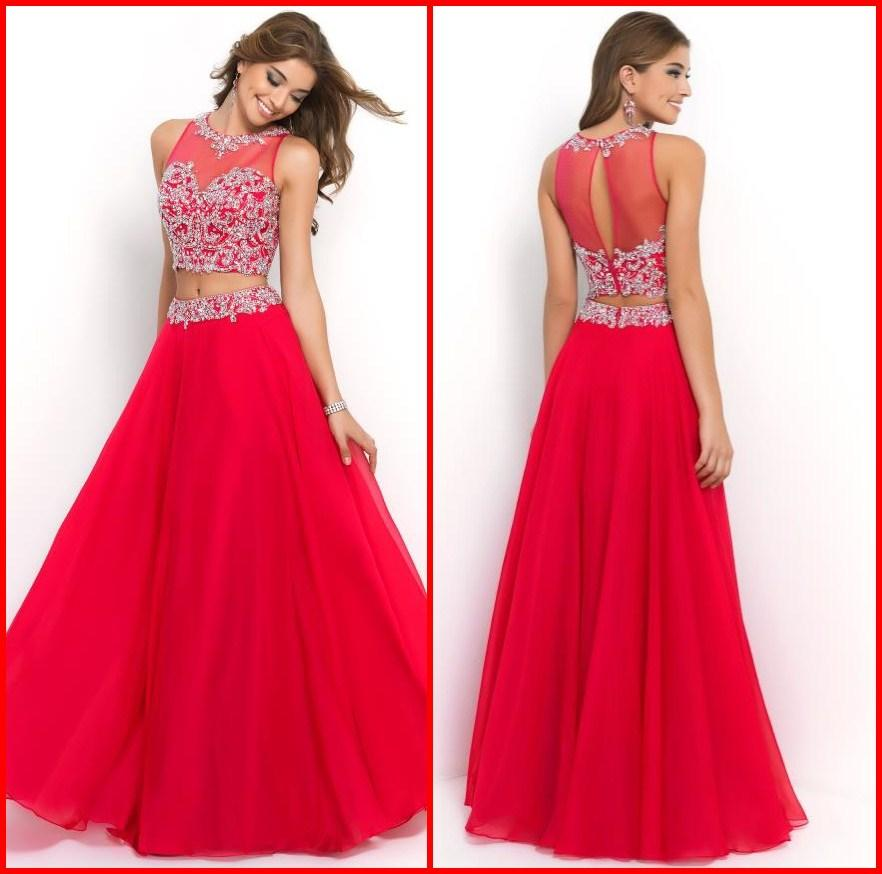 Discount 2015 Two Piece Red Long Prom Dresses Beaded Lace Applique Crew Neck A-Line Floor-length Chiffon Formal Gown/Evening Dress Online with $124.95/Piece | DHgate
