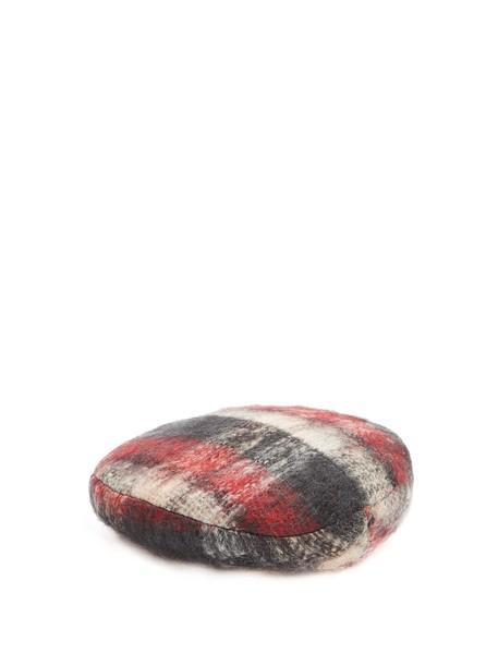 Maison Michel mohair beret tartan red hat