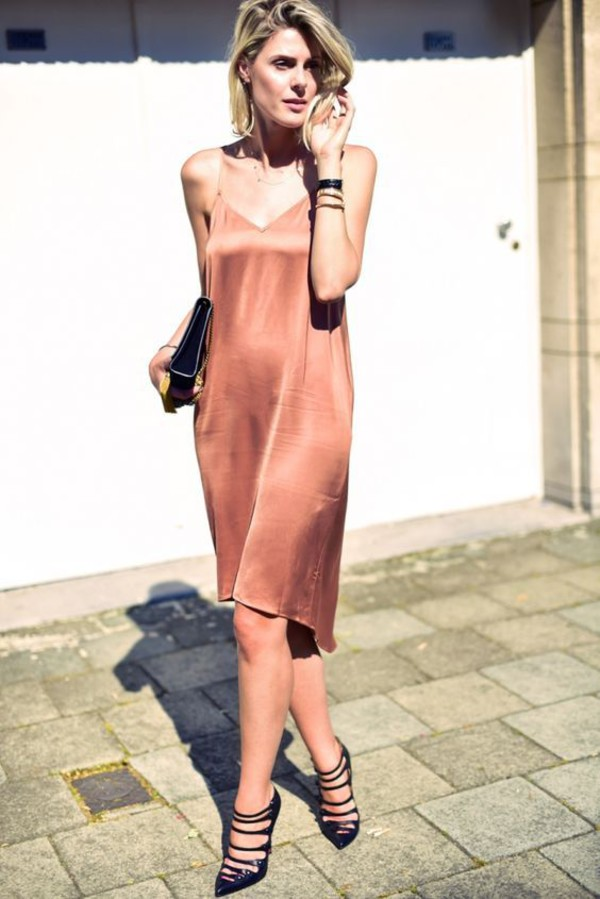dress champagne slip dress black handbag champagne dress streetstyle black stilettos saint laurent bag christian louboutin heels slip dress nude dress midi dress summer dress summer outfits pointed toe pumps shoes black shoes bag black bag nude slip dress