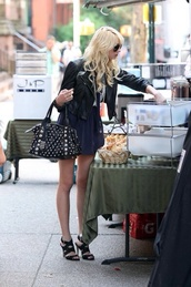 jacket,leather jacket,studded purse,sunnies,dress,strappy black heels,long hair,blue,pretty girl,shoes