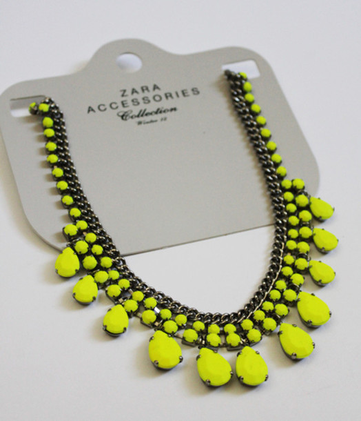 jewels necklace neon jewel neon necklace zara zara necklace accessories