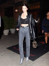 shoes,boots,jeans,crop tops,top,jacket,kendall jenner,kardashians,model off-duty