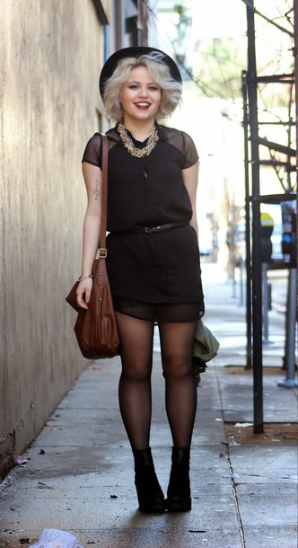 broke hell blogger see through black dress leather bag