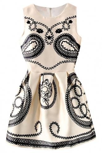 dress vintage dress ivory dress paisley mini dress sleeveless