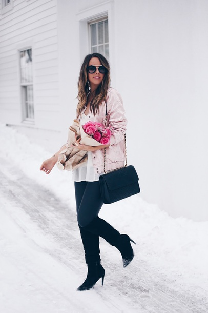 fashionably kay blogger jacket shoes leggings tank top bag sunglasses jewels