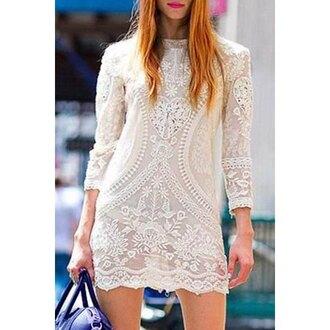 dress white lace fashion style trendy girly feminine long sleeves classy elegant rose wholesale-jan