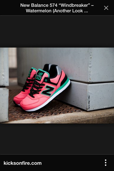 fashion clothes new balance new balance sneakers new balance 574 black watermelon shoes watermelon green
