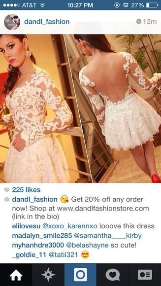white dress long sleeve dress lace dress sheer