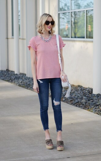 straight a style blogger t-shirt shoes jeans bag jacket jewels shoulder bag white bag pink top skinny jeans