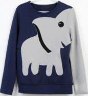 sweater,jumper,tumblr,clothes,elephant,animal,trunk,blue,frey,grey,cute,hipster,leisure,long sleeves,funny sweater,animals,kawaii,blue hoodie,hoodie,pullover,shirt,elephant sweater,home accessory