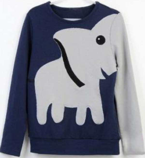 sweater jumper tumblr clothes elephant animal trunk blue frey grey cute elephant leisure long sleeves funny sweater