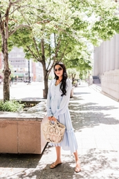 dress,blue dress,shoes,sandals,bag