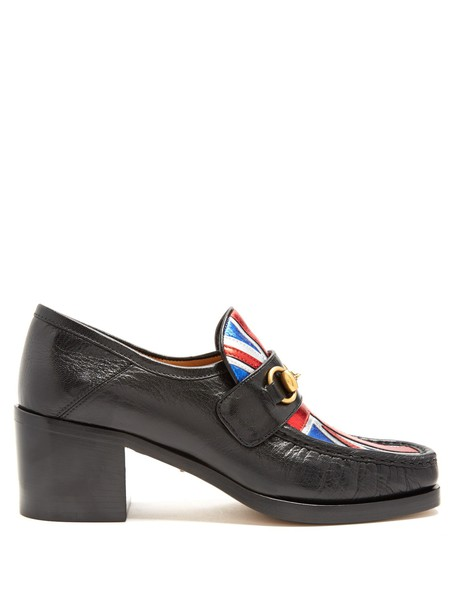 gucci union jack loafers leather black shoes
