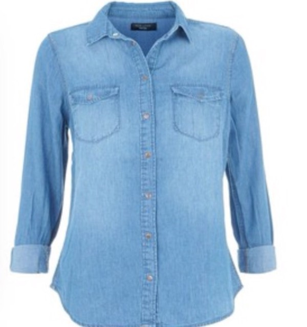 petite blue denim shirt