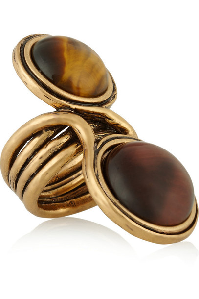 jewels burnished gold-plated cabochon ring oscar de la renta burnished gold plated gold cobochon ring