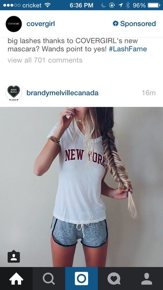 shorts new york city t-shirt youtuber brandy melville braid white t-shirt