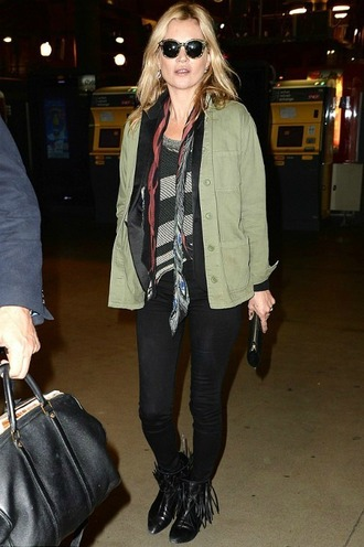 shirt kate moss pants olive green jacket