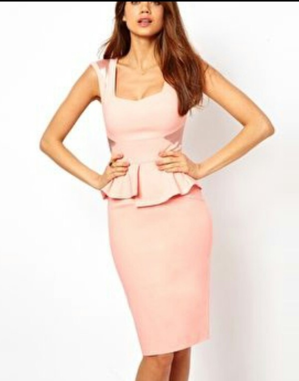 dress pink pencil dress ruffle