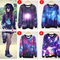 Womens girls galaxy space starry print long sleeve punk tops tee round t shirt | ebay